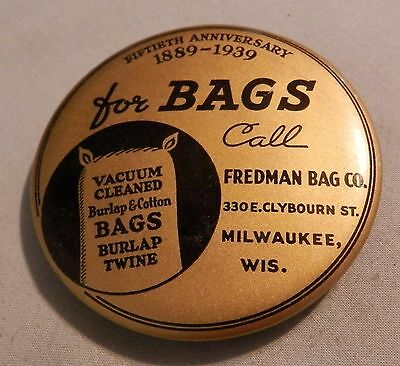 Vintage 1939 Fredman burlap cotton Bags paperweight local advertising mirror WI