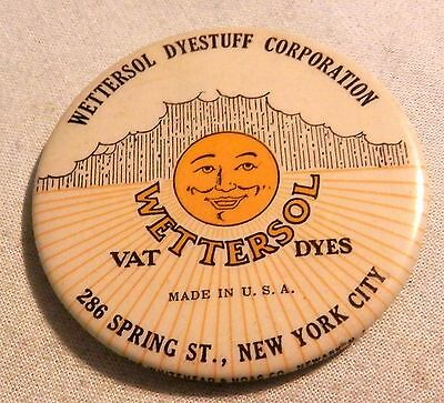 Vintage Wettersol Dyestuff dyes  local advertising pocket paperweight mirror NY