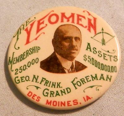 Vintage Yeomen  local advertising pocket paperweight mirror Des Moines IA