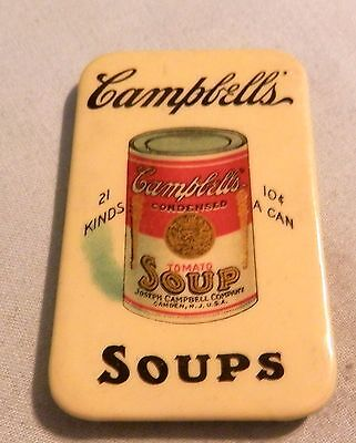 Vintage Campbell's Soup 10 cents  local advertising pocket paperweight mirror