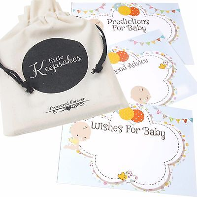 Baby Shower Prediction Cards, Wishes Parent Advice Keepsake Baby 10 Guests