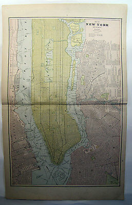 Cram's 1887 1st Edition Universal Atlas Map Pages New York Brooklyn Boston