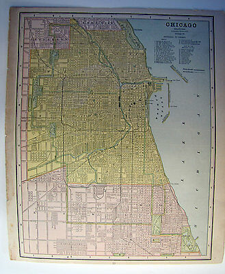 Cram's 1887 1st Edition Universal Atlas Map Page Chicago and St. Louis