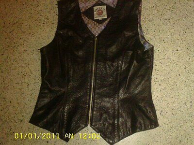 Grizzly Outfitters Black Leather Zip Western Vest L Women