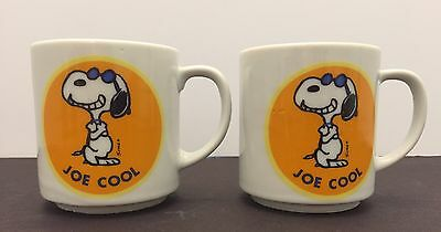 Set of 2 Snoopy Joe Cool United Feature Syndicate Corp. 1958 Coffee Cups