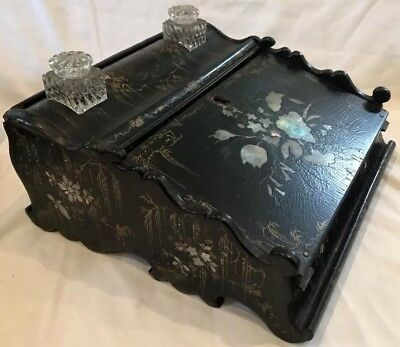Exceptional Antique Victorian Ladies Mother-of-Pearl Inlaid Paper Mache Lap Desk