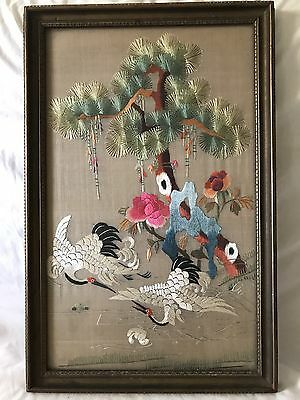 Antique Early 20th Century Chinese Embroidery Panel w/ Cranes & Flowers, Framed