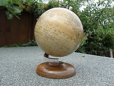 Vintage German Desk Paper GLOBE by Paul Rath Wooden Base Chromed Metal Fittings