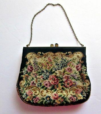 Vintage Austrian Tapestry Petit Point Floral Bag w/Change Purse and MIrror