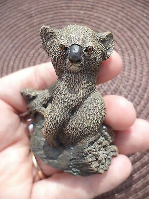 "Vintage 2 1/4"" '78 Deaton Painted Bronze Menagerie Koala Bear Figurine Miniature"