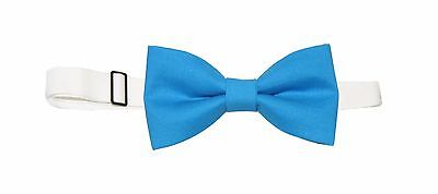 New Men's Blue Pre-Tied Cotton Bow Tie On Adjustable Twill Neck Strap