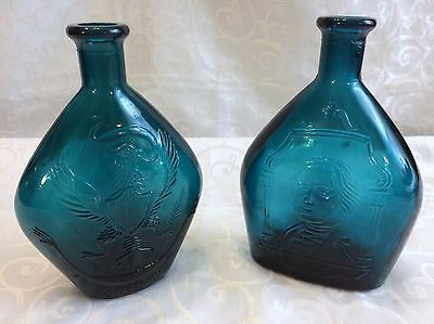 Vintage Wheaton Large Blue Presidential Pair of Bottles