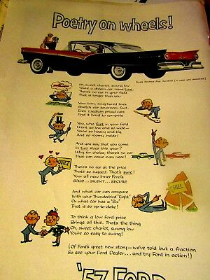 1957 Ford Fairlane 500 Poetry On Wheels Original Print Ad 8.5 x 10.5""