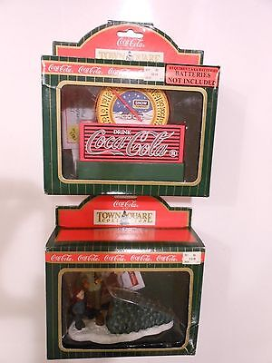 Coca Cola Christmas Town Village Man & Boy with Tree, Thermometer NEW Lot of 2