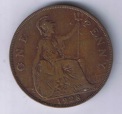 1928 Great Britain 1 Penny Coin UK Pence United Kingdom British English one cent