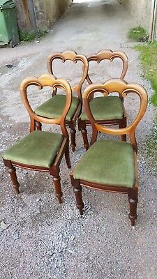 Lovely set of 4 Victorian balloon back dining chairs