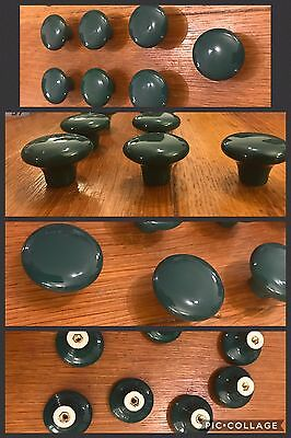 7 Knobs Pulls CERAMIC Dark Green Round Pedestal Cabinet Drawer PORCELAIN Vintage