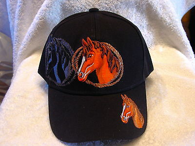 Horse Western With Shadow Baseball Cap Hat ( Black )