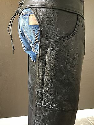 Black Leather Motorcycle Biker Riding Chaps Lined Size L Unisex Men Woman Solid