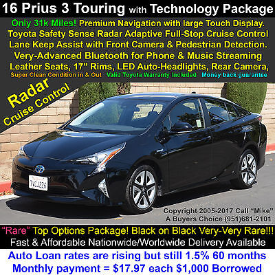 """2016 Toyota Prius Package 3 Touring with """"T.S.S."""" Technology Package Radar Full-stop-Cruise-Control with Collision Avoidance & Lane Assist! Warranty!"""