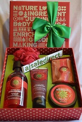 SALE* The Body Shop Gift Box Set STRAWBERRY Shower Gel Soap Body Butter & Polish