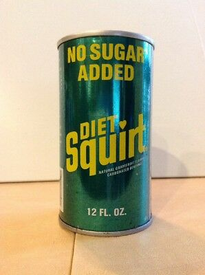 "Vintage 1975 Diet Squirt ""No Sugar Added' Straight Stl Pull Tab soda can barcode"