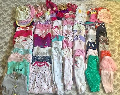 50+ pc used baby girl clothes lot sz newborn to 12 months. Includes add. items