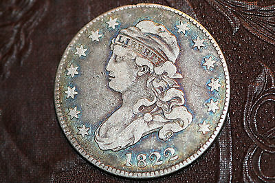 VF+ 1822 Capped Bust Quarter RARE Low Mintage Key Date - Free Shipping
