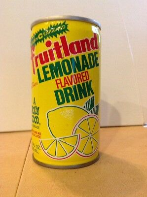 Vintage Fruitland Lemonade Flavored Drink Crimped Steel Pull Tab soda can