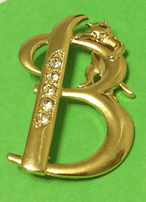Cat Initial *b* Brooch W/ Crystals Jonette Original!