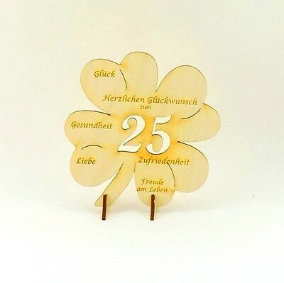 Cloverleaf with Congratulations, 25 Present to the Birthday Anniversary Wood