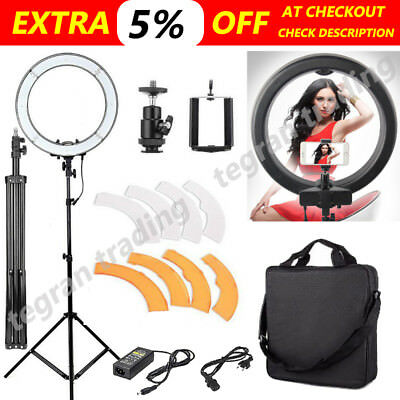 "19"" 5500K ES240 Dimmable Diva LED Ring Light with Diffuser Stand Make Up Studio"