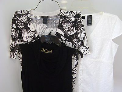 3 Ladies Womens Ann Taylor Liz Claiborne Black White Top Blouse Sz Small & 10
