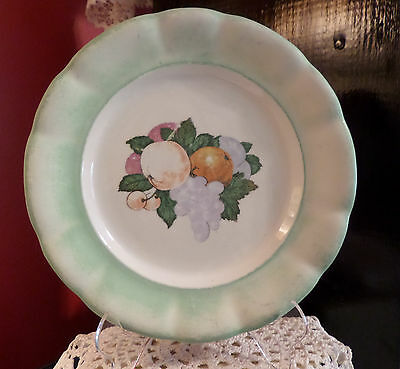 Czechoslovakia Decorative Plate Fruit Transfer Matte Finish Rim Vintage Antique