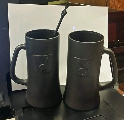 2 PLAYBOY CLUB  MUGS and 1 Playboy Swizzle Stick Vintage 1960 Playboy Bunny