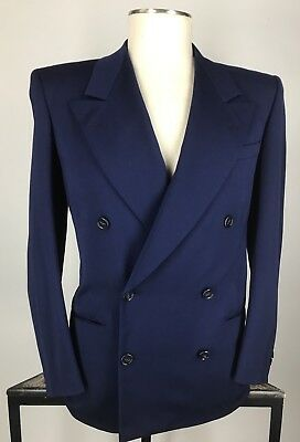 Vtg 40s Blue Wool Gab Double Breasted Hollywood Gangster Suit 42R Pants 32x29