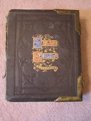 Antique THE HOLY BIBLE Illustrated Leather with Brass Corners Clasps