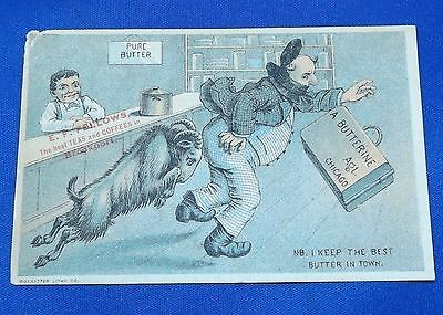 vtg Antique Victorian Trade Card Butter Butterine E.F. Fellows Brockport, NY