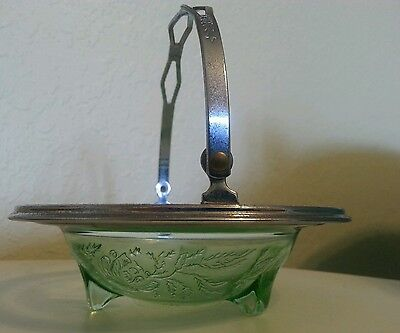 Beautiful Green Depression Dish/Bowl/Basket with Chrome Rim and Handle--Mint!!!