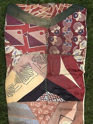 Awesome! Vtg 30s 40s Silk Rayon Crazy Quilt Runner Deco Men's Ties 20x74