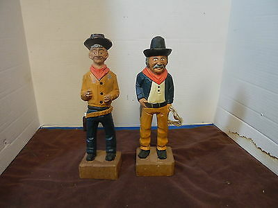 """(2) Sheriff Western Cowboy Wooden Hand Carved figure  12"""""""