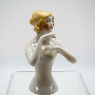 Antique Half Doll Very Fine Hands Away Blond Pin Cushion Doll, NR