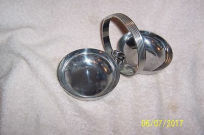 Art Deco CHASE Chrome Double NUT/CANDY Server w/Stylized Whale in Center
