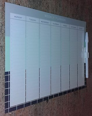 "WEEKLY "" PLANNER"".- FULLY MAGNETIC -WRITE & WIPE. PEN & CliP. ITEM 64"