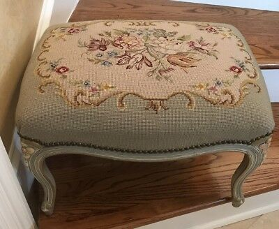 Vintage French Style Needlepoint Petit Point Bench Stool Florals Nail Head Trim