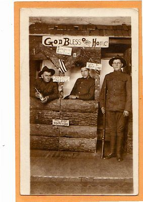 Real Photo Postcard RPPC - Three WWI Era Soldiers at AR Log Cabin Studio Prop
