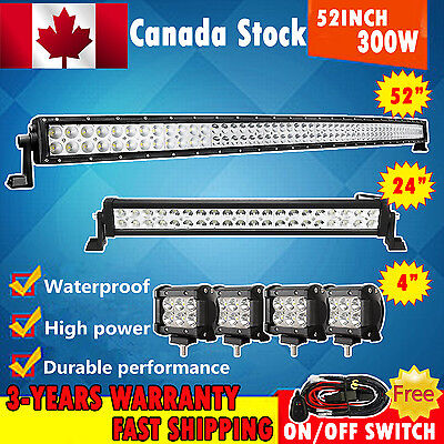 "52inch Curved LED Light Bar + 24""+4x4"" Pods CREE Work Lamp Offroad Turck SUV UTE"