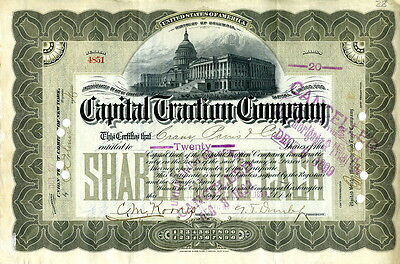 1899 Capital Traction Company Stock Certificate – 20 Shares