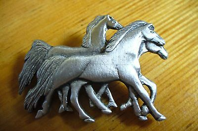 Silvertone Group Of Three HORSES Brooch Pin