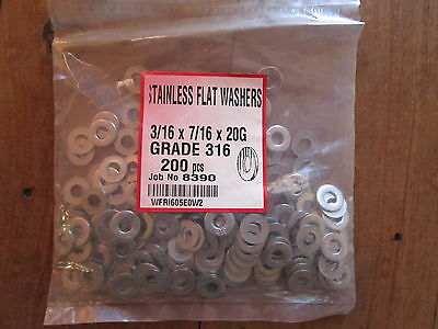 "STAINLESS STEEL WASHERS X 200 , 3/16"" X 7/16"" x 20G , 316 GRADE, NEW, FREE POST"